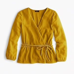 J. Crew Tall faux-wrap top in drapey velvet Sz. 4T